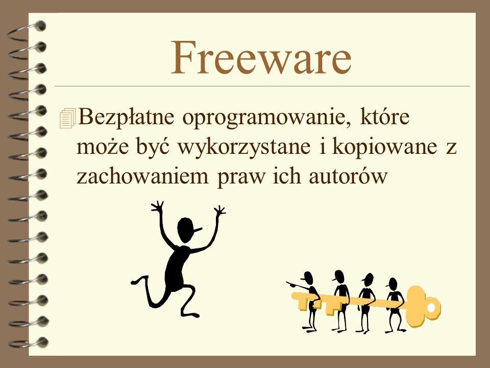 Freeware Bezpłatne oprogramowanie, które może być wykorzystane i kopiowane z zachowaniem praw ich autorów.