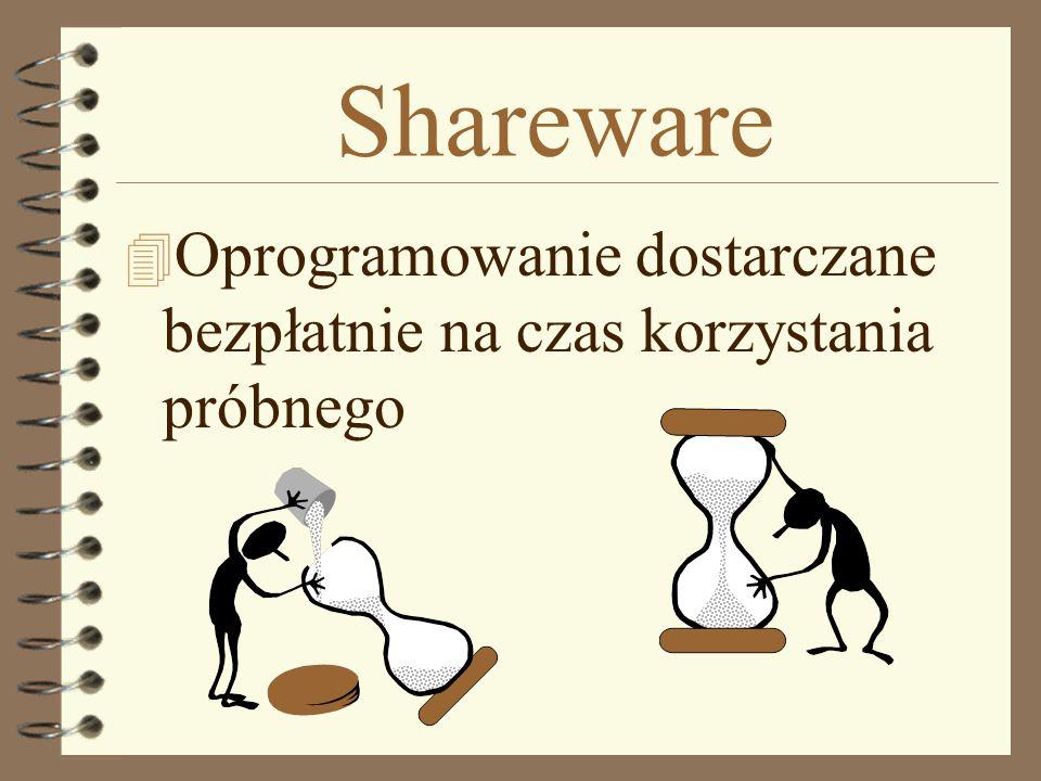Shareware Oprogramowanie dostarczane bezpłatnie na czas korzystania próbnego