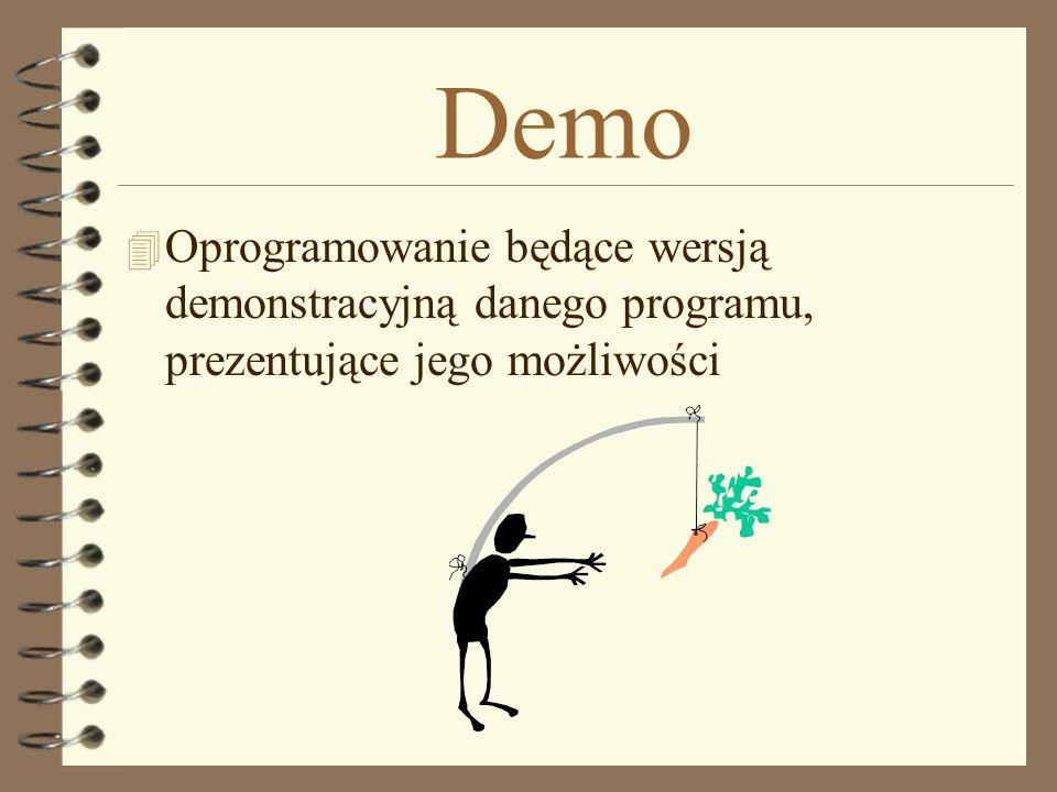 Demo Oprogramowanie będące wersją demonstracyjną danego programu, prezentujące jego możliwości