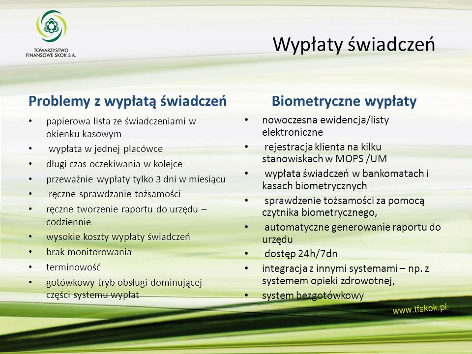 Wypłaty świadczeń Problemy z wypłatą świadczeń Biometryczne wypłaty