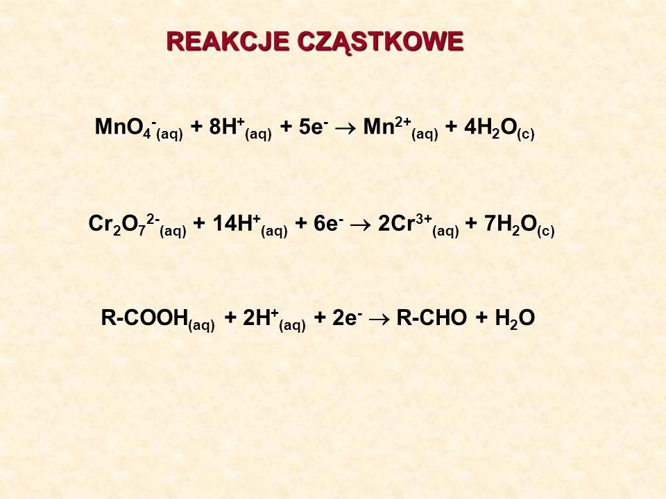 REAKCJE CZĄSTKOWE MnO4-(aq) + 8H+(aq) + 5e-  Mn2+(aq) + 4H2O(c)