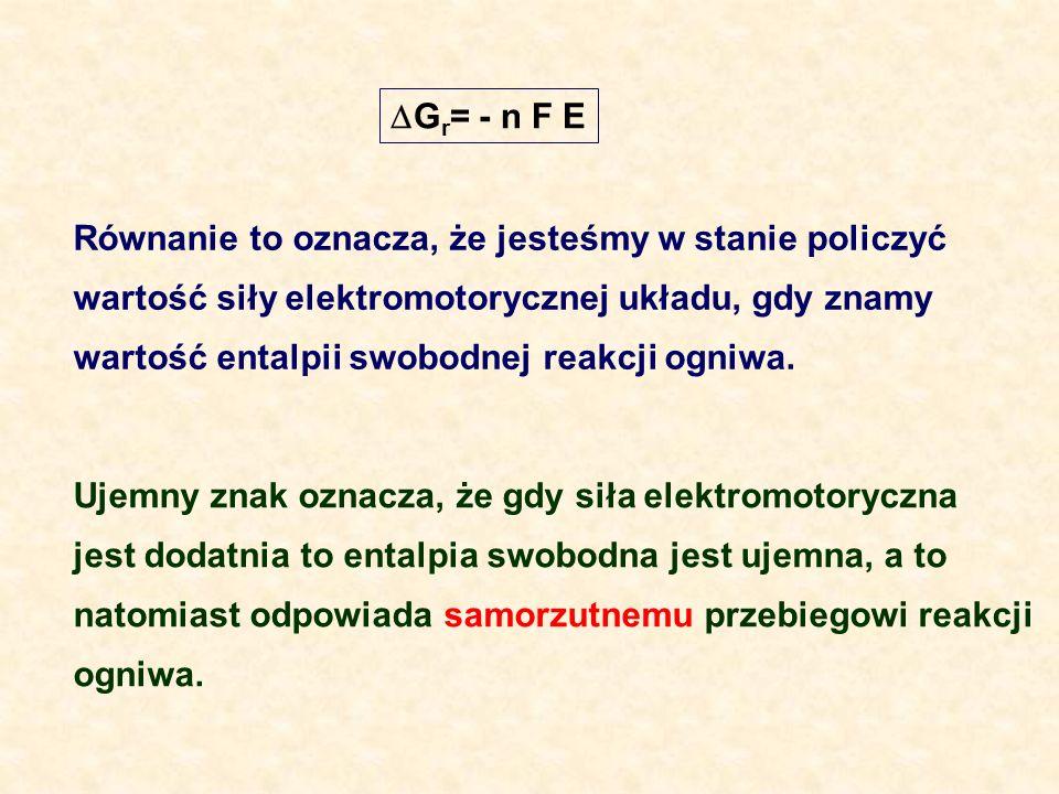 Gr= - n F E Równanie to oznacza, że jesteśmy w stanie policzyć. wartość siły elektromotorycznej układu, gdy znamy.