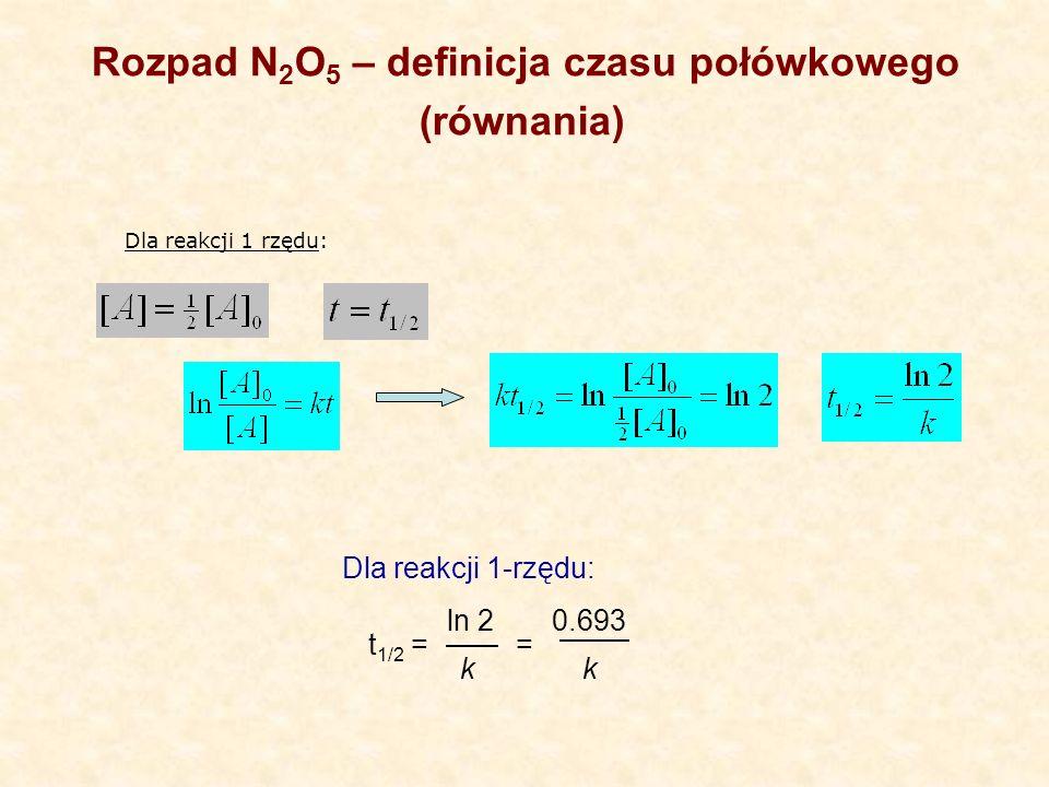 Rozpad N2O5 – definicja czasu połówkowego (równania)