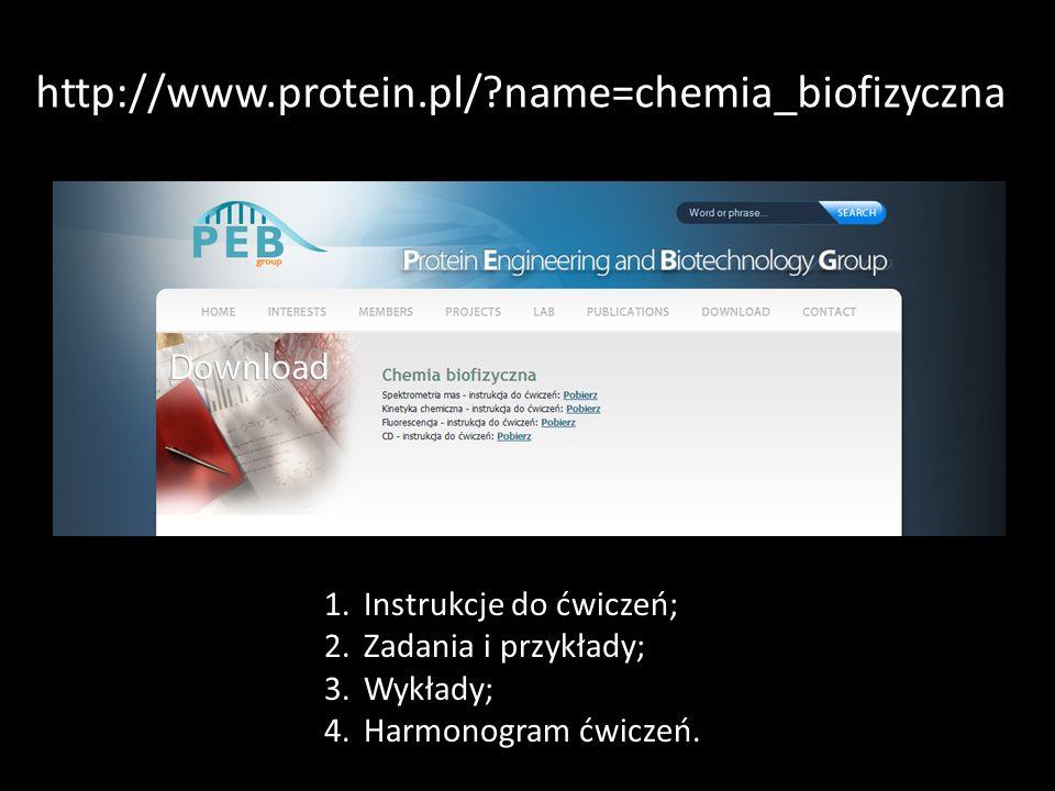 http://www.protein.pl/ name=chemia_biofizyczna Instrukcje do ćwiczeń;