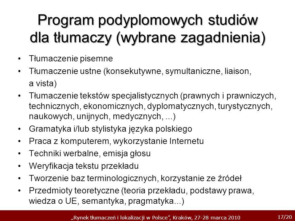 Program podyplomowych studiów dla tłumaczy (wybrane zagadnienia)