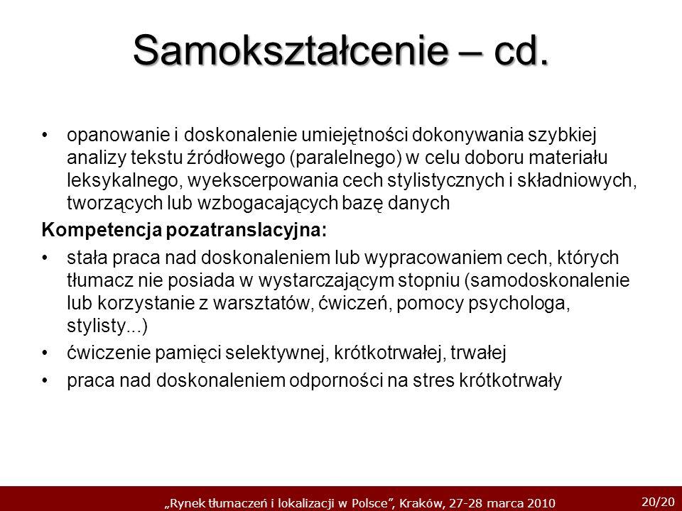 Samokształcenie – cd.