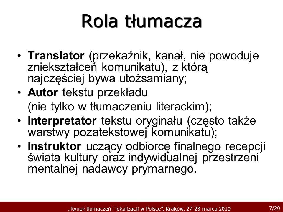 Rola tłumacza Translator (przekaźnik, kanał, nie powoduje zniekształceń komunikatu), z którą najczęściej bywa utożsamiany;