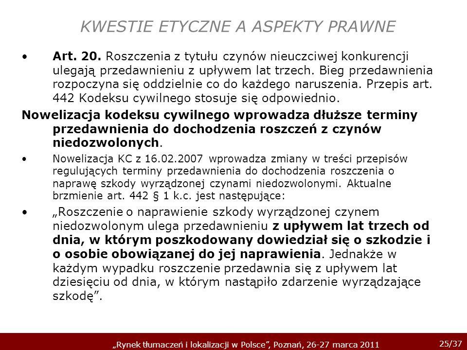 KWESTIE ETYCZNE A ASPEKTY PRAWNE