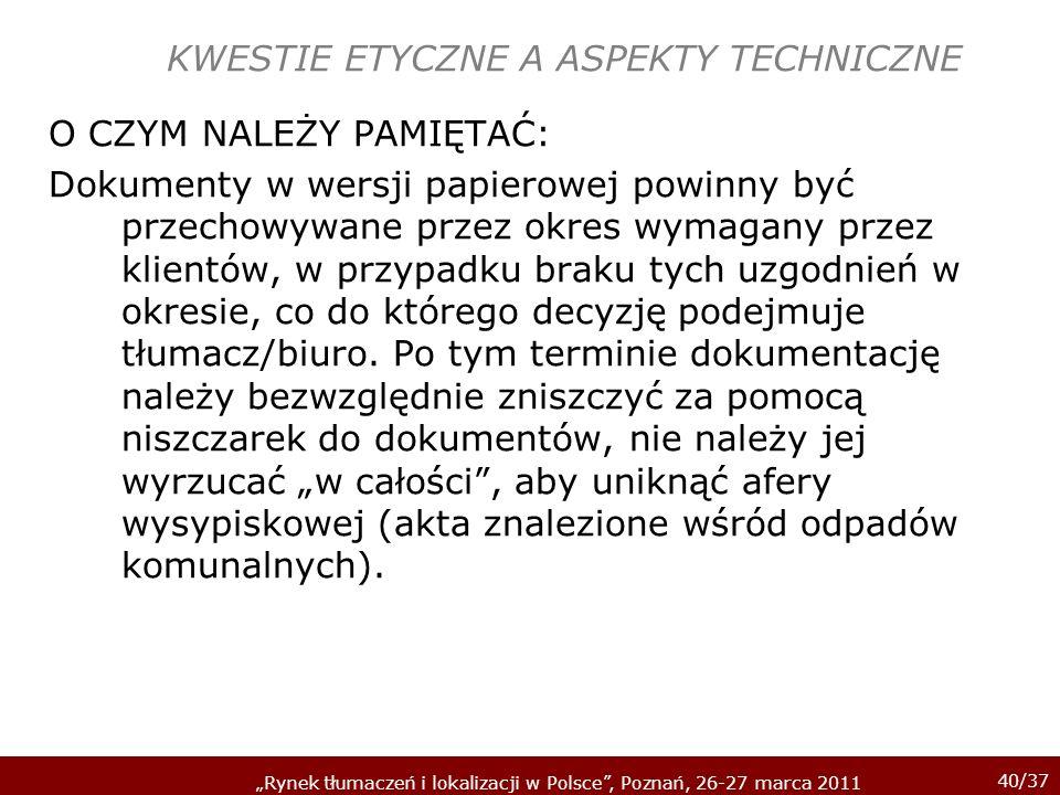 KWESTIE ETYCZNE A ASPEKTY TECHNICZNE