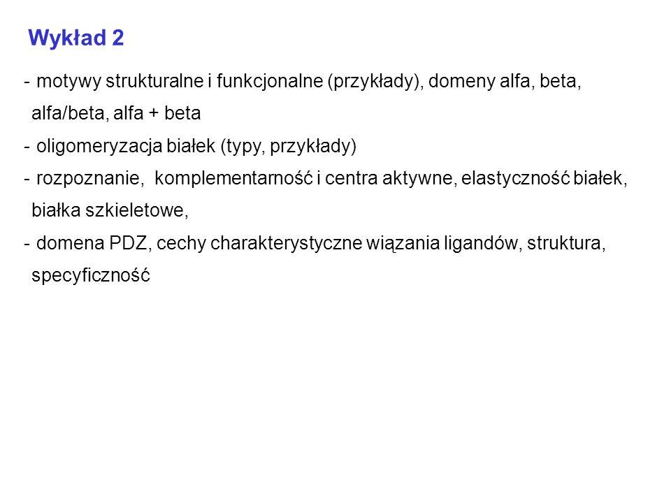 Wykład 2motywy strukturalne i funkcjonalne (przykłady), domeny alfa, beta, alfa/beta, alfa + beta. oligomeryzacja białek (typy, przykłady)