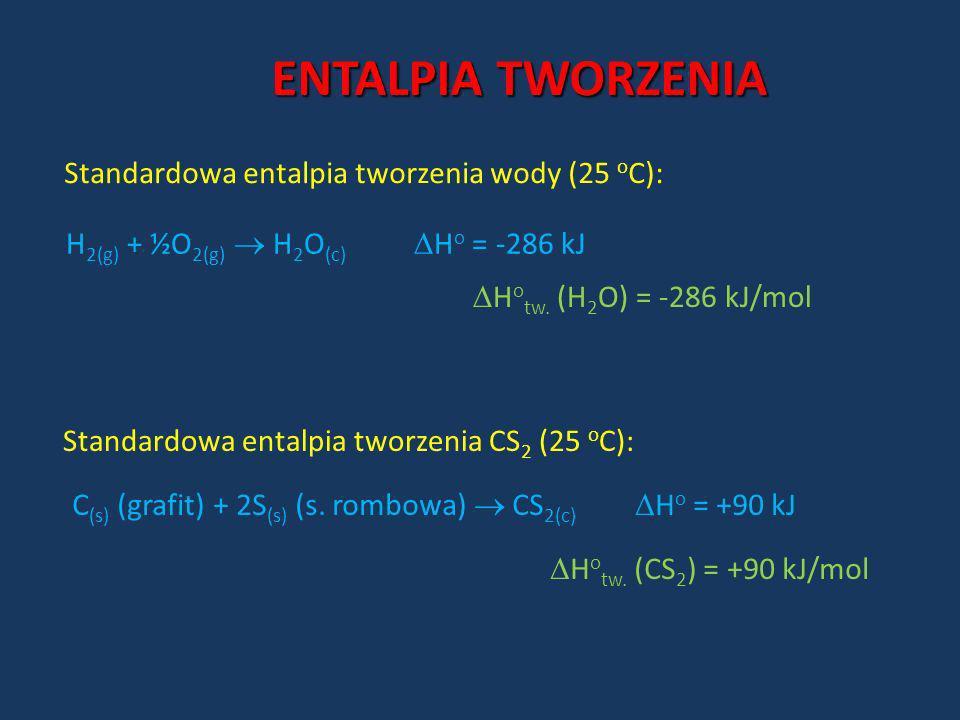ENTALPIA TWORZENIA Standardowa entalpia tworzenia wody (25 oC):