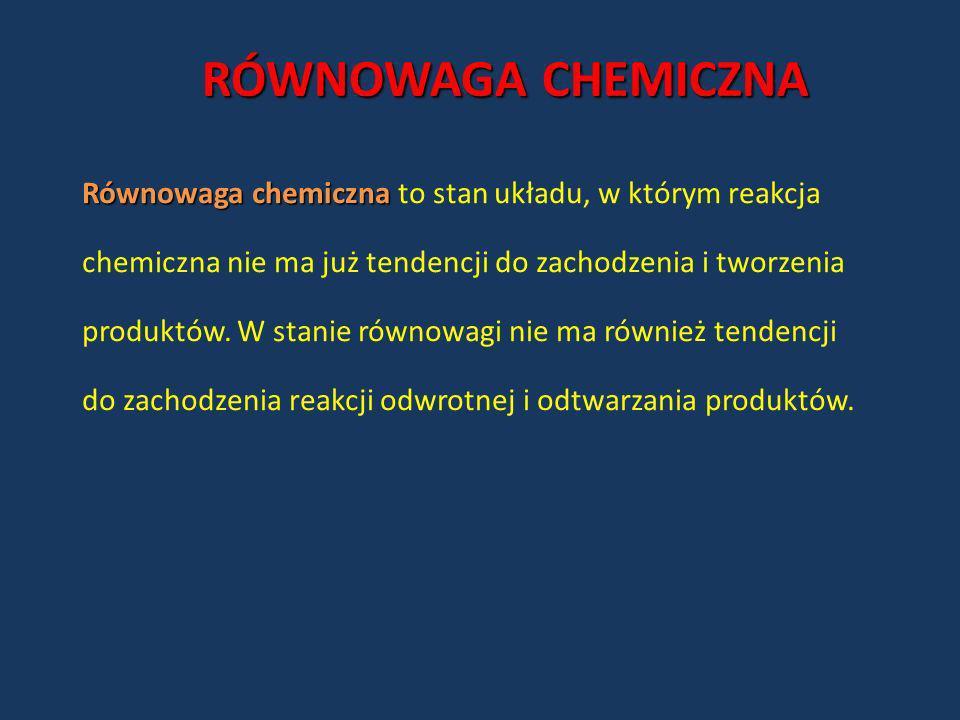 RÓWNOWAGA CHEMICZNARównowaga chemiczna to stan układu, w którym reakcja. chemiczna nie ma już tendencji do zachodzenia i tworzenia.