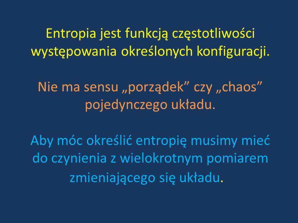 Entropia jest funkcją częstotliwości występowania określonych konfiguracji.