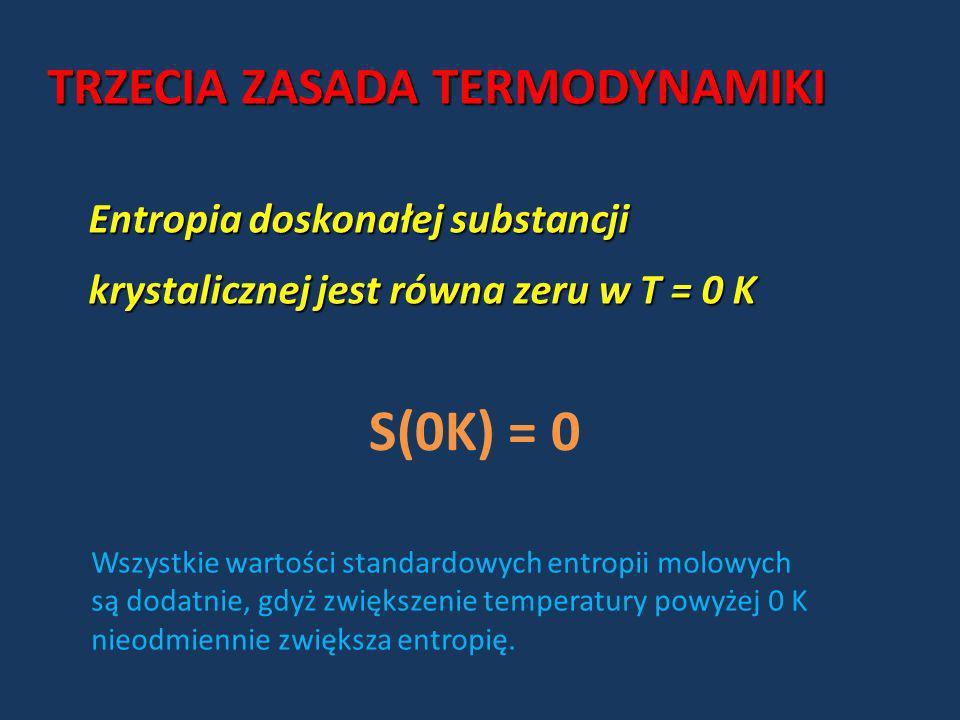 S(0K) = 0 TRZECIA ZASADA TERMODYNAMIKI Entropia doskonałej substancji
