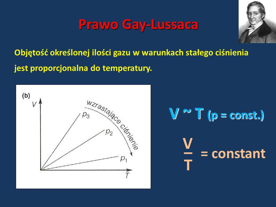 V ~ T (p = const.) V _ T Prawo Gay-Lussaca = constant