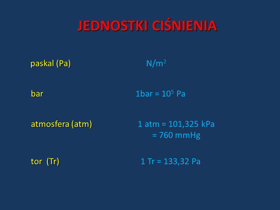 JEDNOSTKI CIŚNIENIA paskal (Pa) N/m2 bar 1bar = 105 Pa