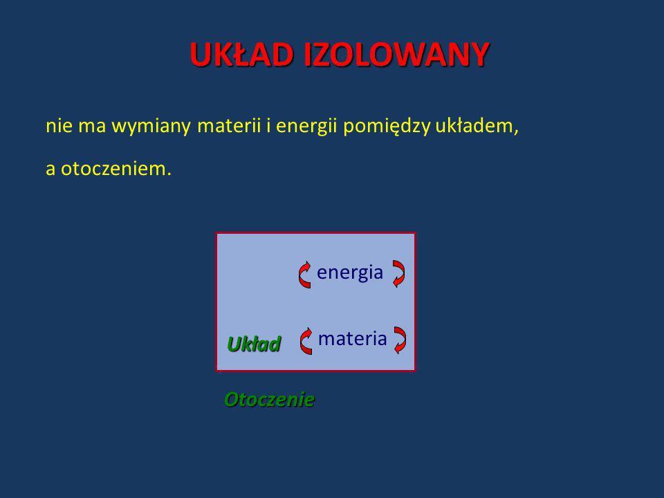 UKŁAD IZOLOWANY nie ma wymiany materii i energii pomiędzy układem,