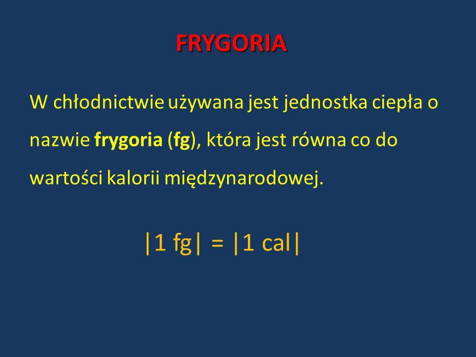 FRYGORIA W chłodnictwie używana jest jednostka ciepła o nazwie frygoria (fg), która jest równa co do wartości kalorii międzynarodowej.