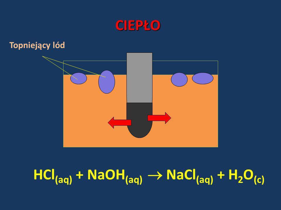 HCl(aq) + NaOH(aq)  NaCl(aq) + H2O(c)