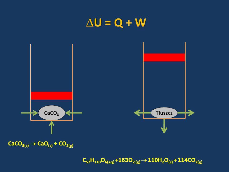 U = Q + W CaCO3(s)  CaO(s) + CO2(g)