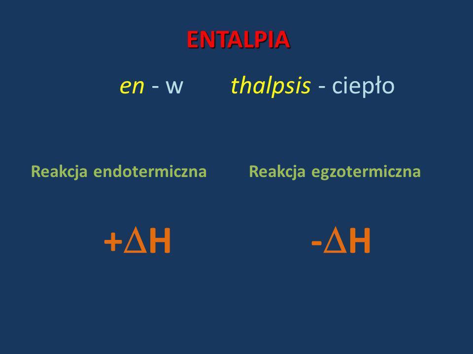 +H -H ENTALPIA en - w thalpsis - ciepło Reakcja endotermiczna