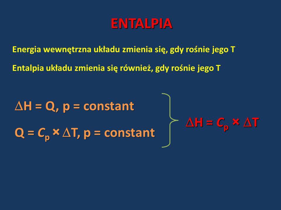 ENTALPIA H = Q, p = constant H = Cp × T Q = Cp × T, p = constant