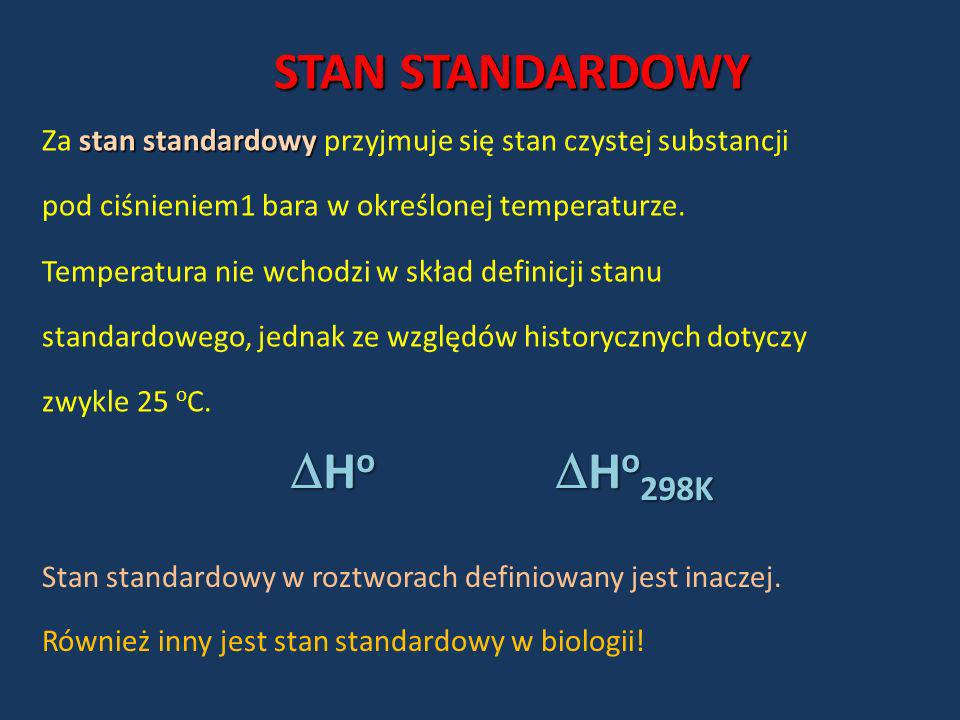 STAN STANDARDOWY Ho Ho298K