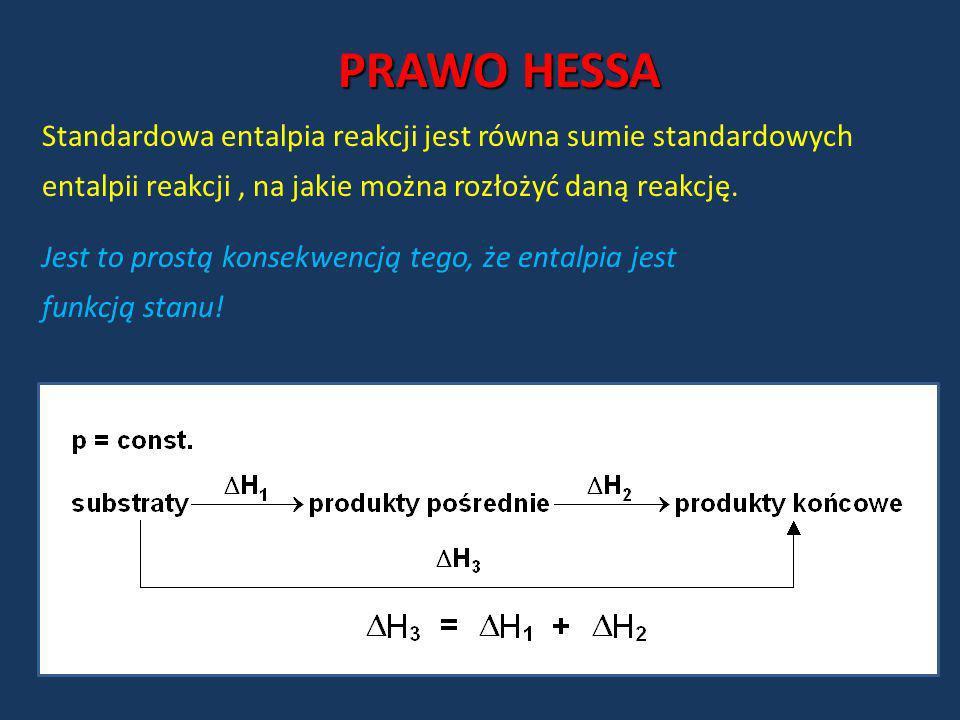 PRAWO HESSA Standardowa entalpia reakcji jest równa sumie standardowych entalpii reakcji , na jakie można rozłożyć daną reakcję.