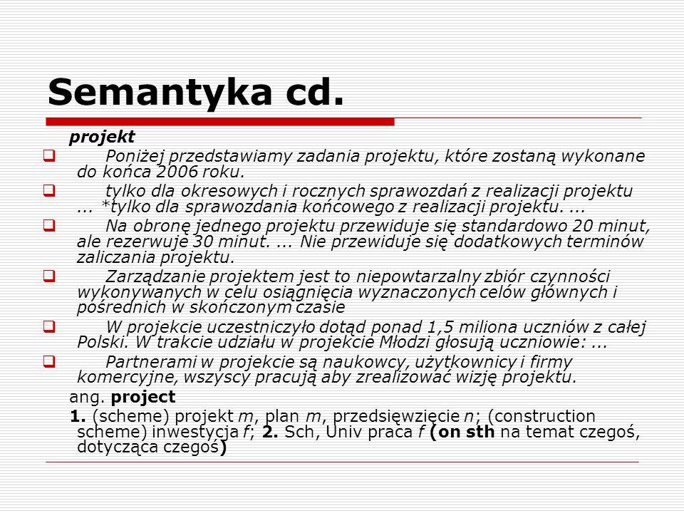 Semantyka cd. projekt. Poniżej przedstawiamy zadania projektu, które zostaną wykonane do końca 2006 roku.