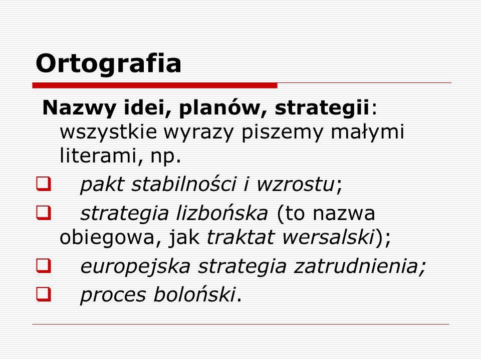 Ortografia Nazwy idei, planów, strategii: wszystkie wyrazy piszemy małymi literami, np. pakt stabilności i wzrostu;