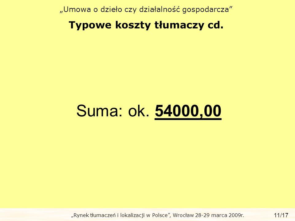 Typowe koszty tłumaczy cd.