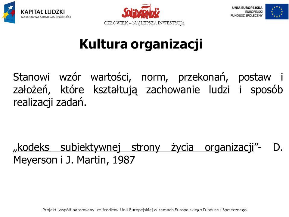 Kultura organizacji Stanowi wzór wartości, norm, przekonań, postaw i założeń, które kształtują zachowanie ludzi i sposób realizacji zadań.