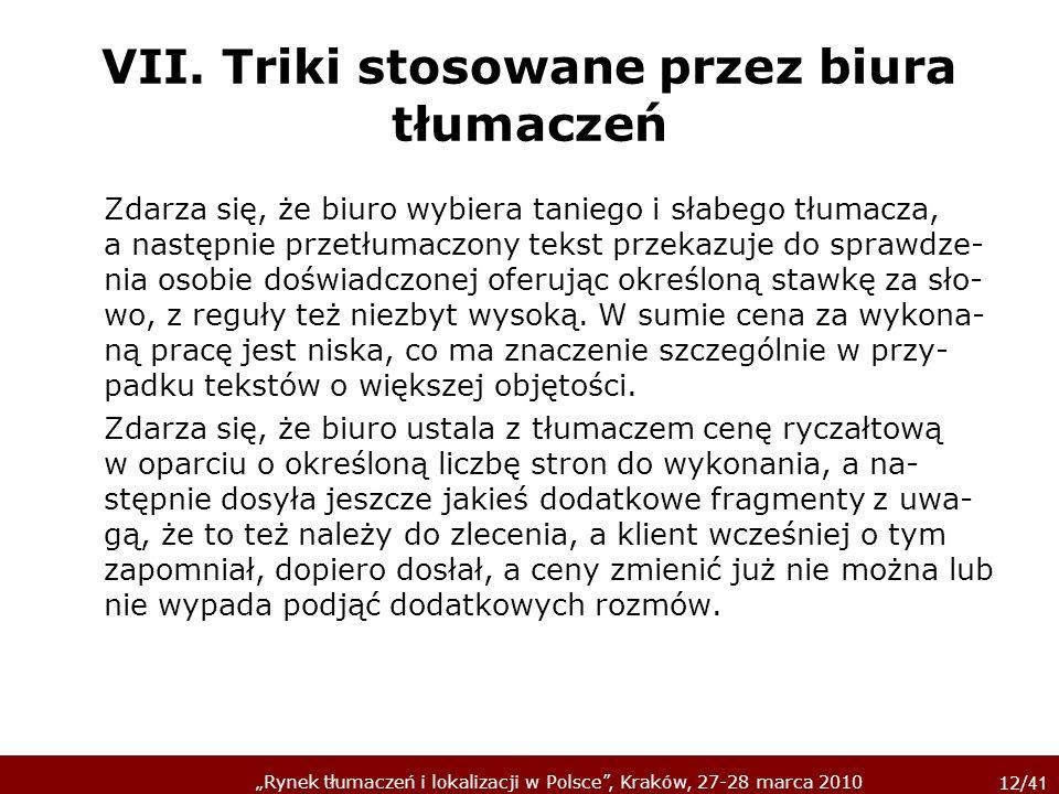 VII. Triki stosowane przez biura tłumaczeń