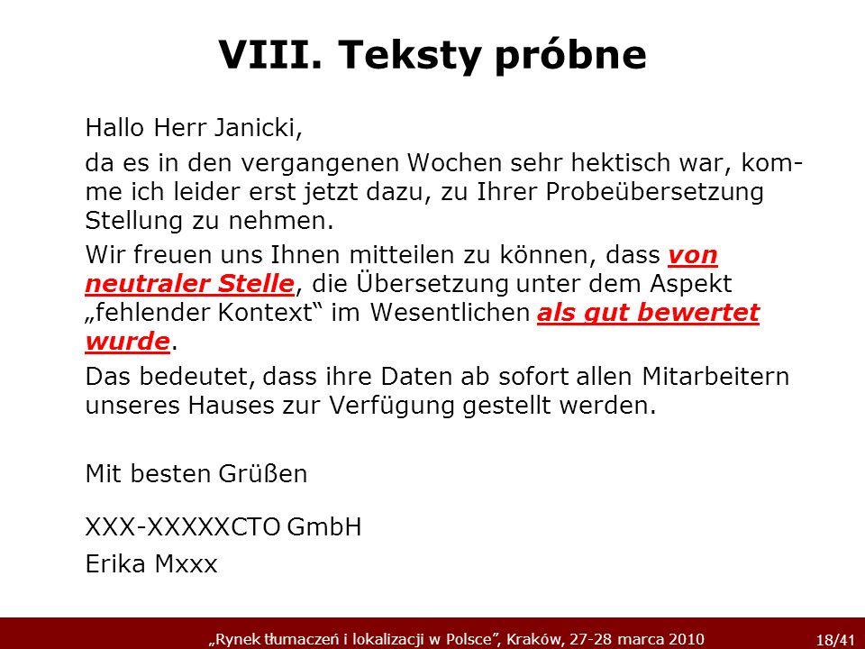 VIII. Teksty próbne Hallo Herr Janicki,