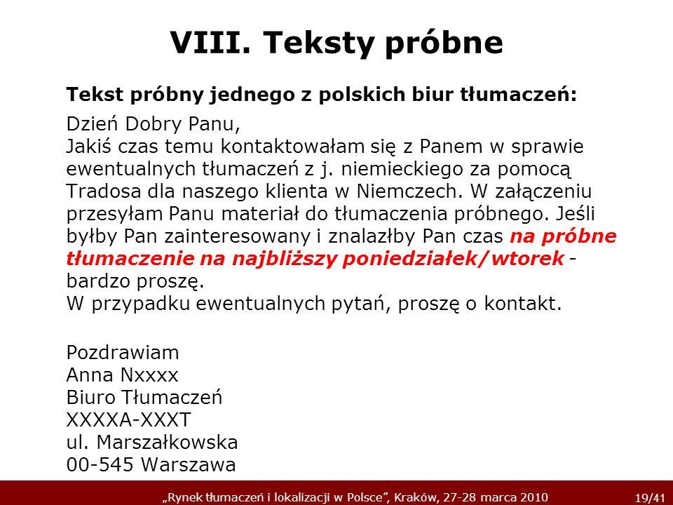 Tekst próbny jednego z polskich biur tłumaczeń: