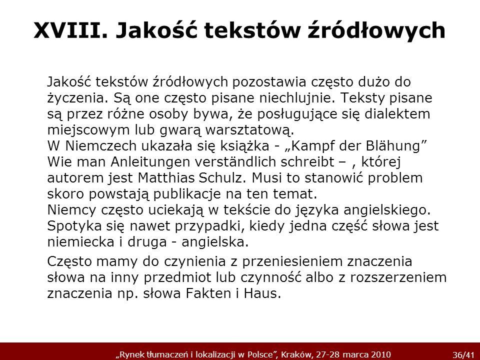 XVIII. Jakość tekstów źródłowych
