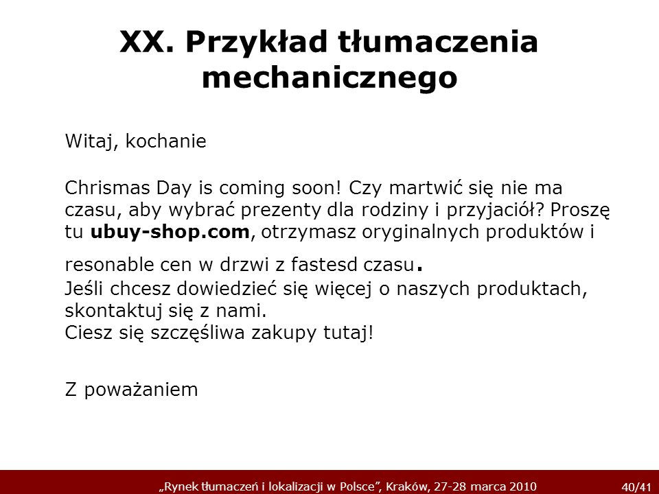 XX. Przykład tłumaczenia mechanicznego