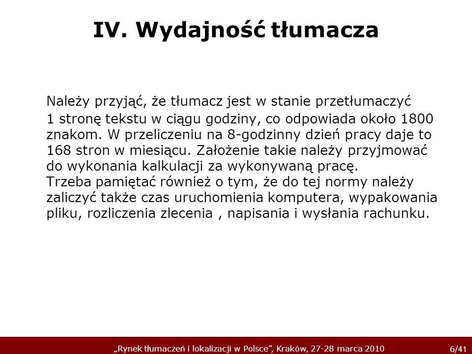 IV. Wydajność tłumacza