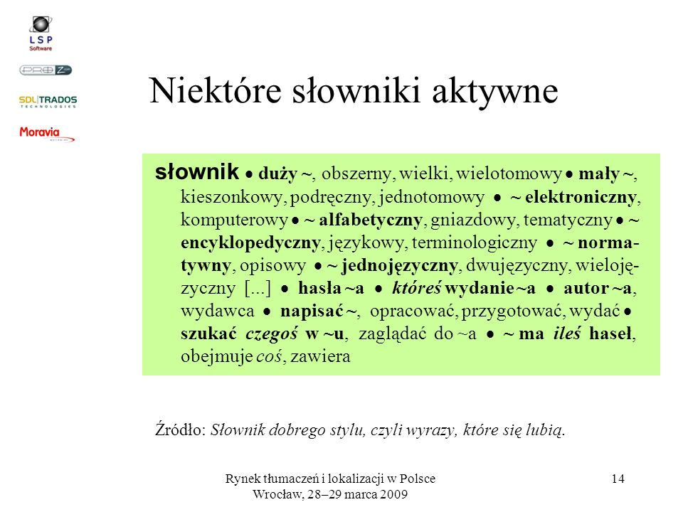 Niektóre słowniki aktywne