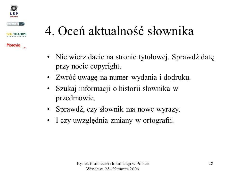 4. Oceń aktualność słownika