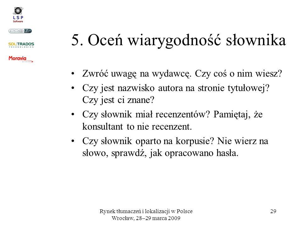 5. Oceń wiarygodność słownika