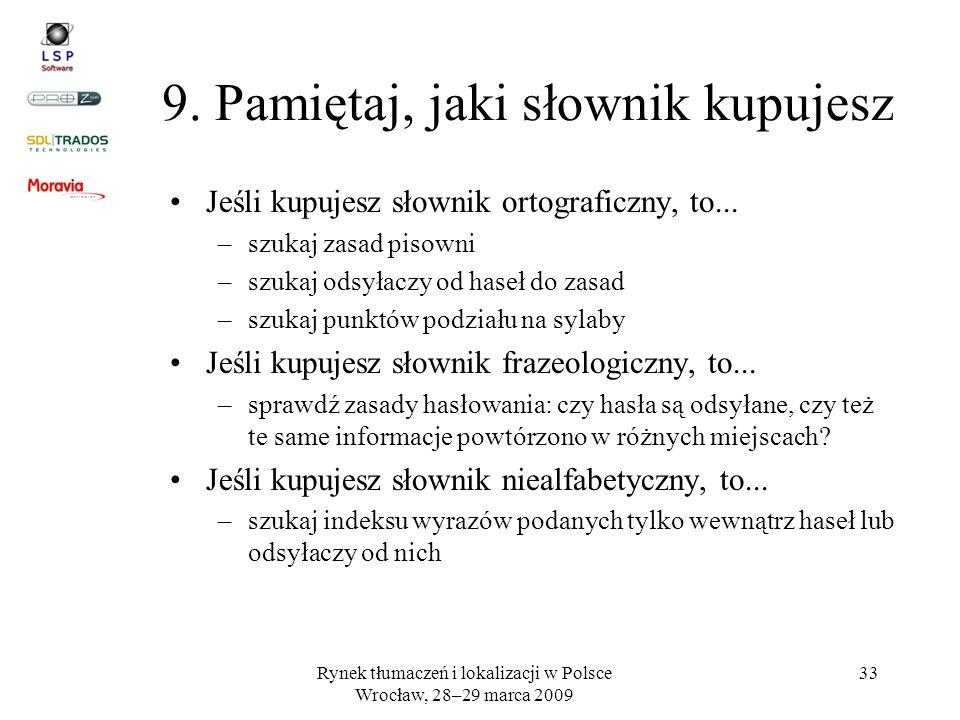 9. Pamiętaj, jaki słownik kupujesz