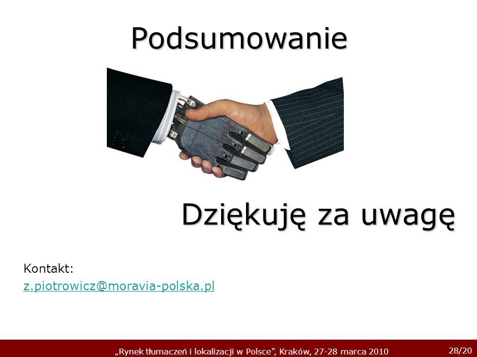 Podsumowanie Dziękuję za uwagę Kontakt: z.piotrowicz@moravia-polska.pl