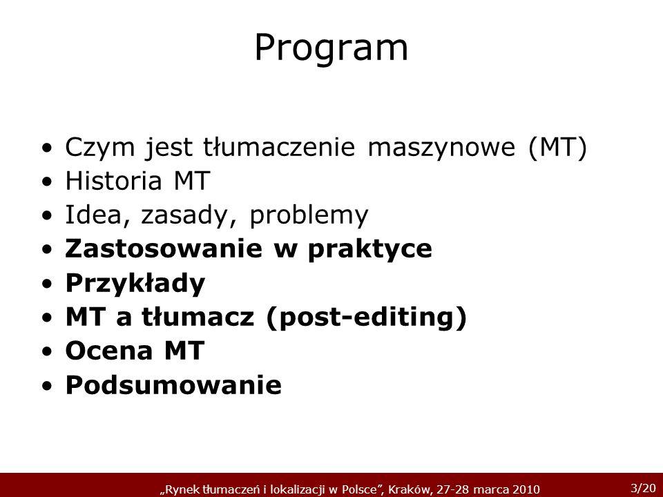 Program Czym jest tłumaczenie maszynowe (MT) Historia MT