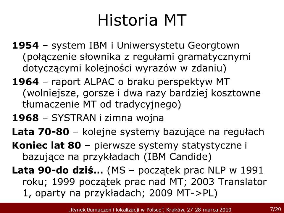 Historia MT 1954 – system IBM i Uniwersystetu Georgtown (połączenie słownika z regułami gramatycznymi dotyczącymi kolejności wyrazów w zdaniu)