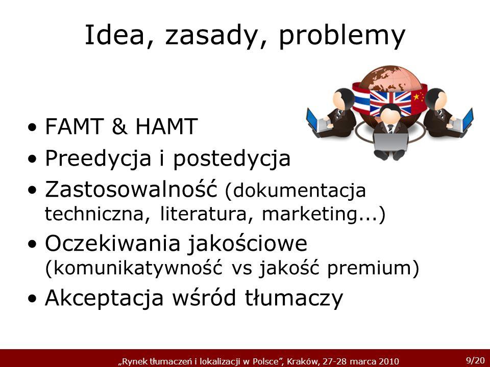 Idea, zasady, problemy FAMT & HAMT Preedycja i postedycja