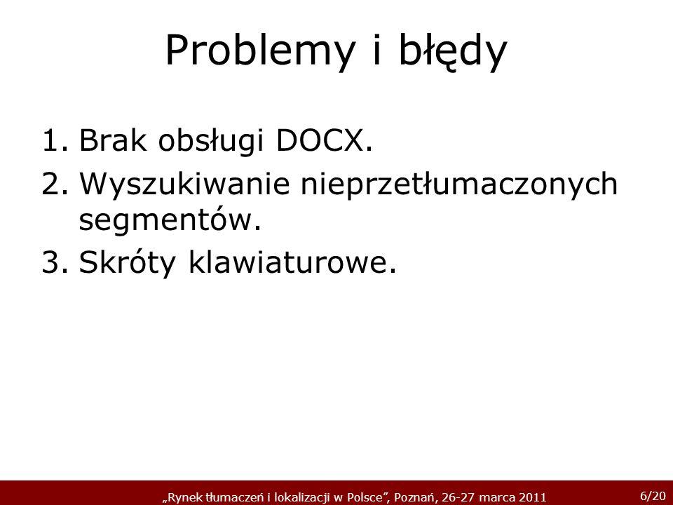 Problemy i błędy Brak obsługi DOCX.