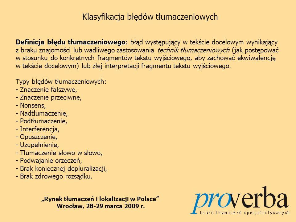 Klasyfikacja błędów tłumaczeniowych