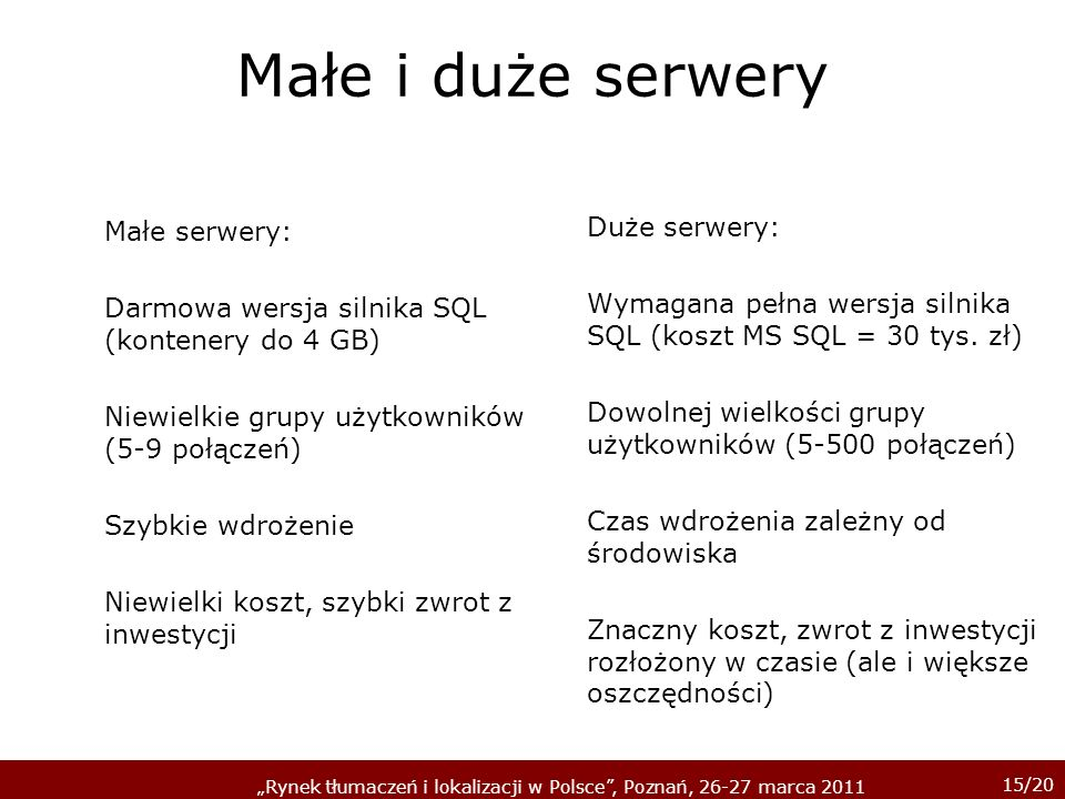 Małe i duże serwery Duże serwery: Małe serwery: