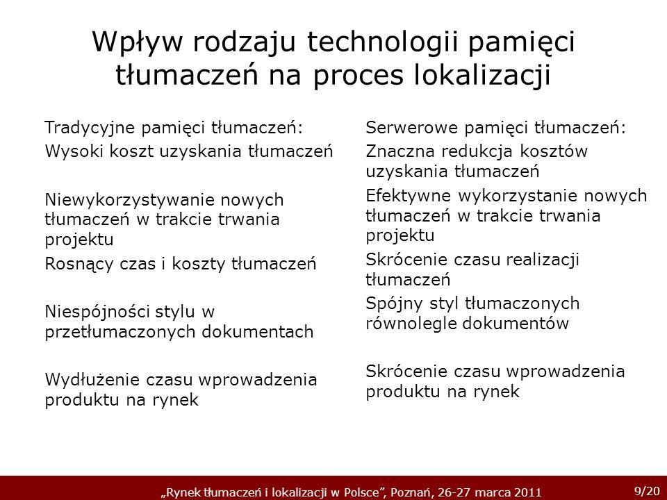 Wpływ rodzaju technologii pamięci tłumaczeń na proces lokalizacji